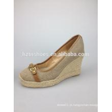 Sandália da cunha mulheres novas do verão 2014 calçados genuínos da sapata de couro sandálias da mulher sapatas causais da decoração do cristal