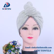 """10x27 """"turbante cinzento do cabelo do envoltório de toalha de secagem do cabelo de Microfiber dos termas"""