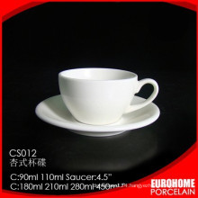 Ceramic tableware continental stackable white teacups and saucers