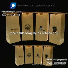 500 gramas kraft saco de café com estanho tie para grãos de café torrado / Kraft quad seal sacos de grãos de café