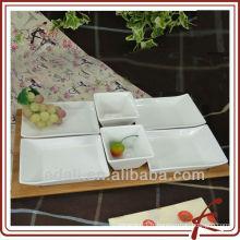 Nouvelle vaisselle en porcelaine blanche Vaisselle en vaisselle avec bambou