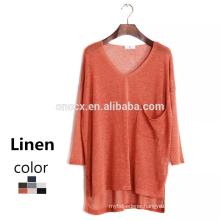 15JW0410 2016 woman natural material linen summer jumpers