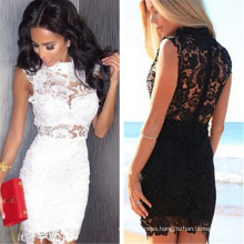 Hot Summer Women Lace Floral Sleeveless Sexy Evening Party Dress