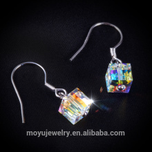 colorful austria crystal square shaped hook earring