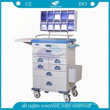 Equipo de anestesia móvil de recubrimiento en polvo de hospital carro carro de la carretilla