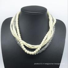 Perles de verre perles de verre Six Rolls Necklace (XJW13781)