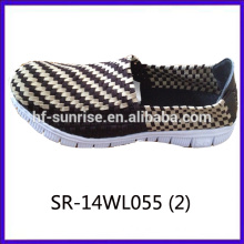2014 new styles SR-14WL055 mix colors hand woven strap shoes