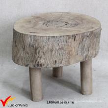 Pequena mancha redonda Chic pé resto madeira natural fezes