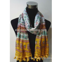 Flower Print Cotton Scarf with Fringe