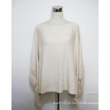 Senhora moda algodão viscose de seda de malha franja poncho (yky4487)