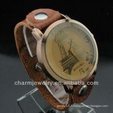 Montre eiffel de vente chaude Montre unisexe Montre bracelet en cuir véritable 2015 WL-035