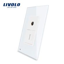 Розетка для телефона и телефона Livolo US RJ11 с розеткой 220 В VL-C591TV-11 из белого жемчуга и хрусталя