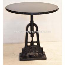 Industrial Crank Mesa de jantar Round Metal Rivet Top