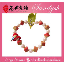 Fancy Childrens Jewellery Chunky Square Beads Large Pearl Necklace For Kids