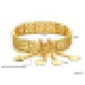 Elegância feminina 18 quilates banhado a ouro pulseira oca
