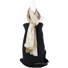 Color sólido de la bufanda de seda del emboidery del color de dos tonos con los cequis