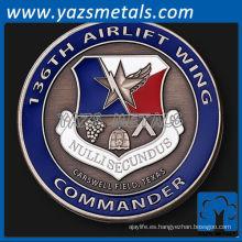 personalizar moneda de metal, 136a moneda del comandante del ala de transporte aéreo