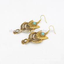 Boucles d'oreilles pendentif turquoise vintage de style bohème pour femmes SSEH017
