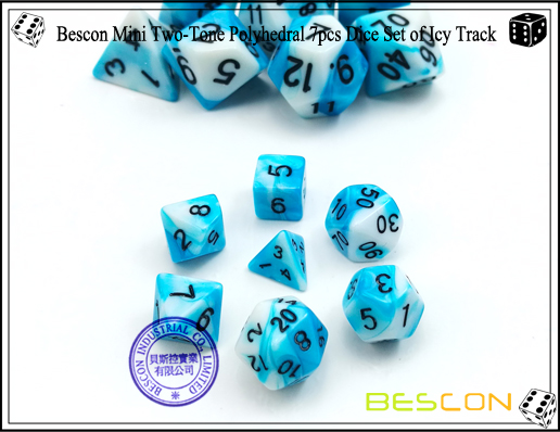 Bescon Mini Two-Tone Polyhedral 7pcs Dice Set of Icy Track-2