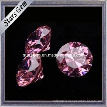 Diamante corte forma redonda rosa piedra cz