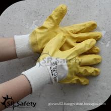 SRSAFETY yellow interlock nitirle coated working glove