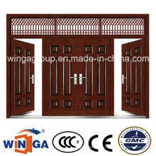 4 Doorleaf Außerhalb Braun Farbe Sicherheit Metall Stahl Tür (W-SD-06)