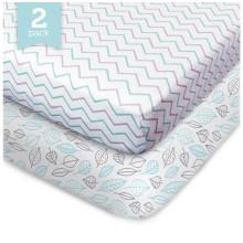 2 Pack cabido Crib Sheet Crib Organic Sheet-100%, Fit Padrão Crib Mattress