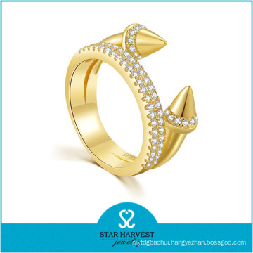 Low MOQ Fashion Women Accessories Gold Plated Silver Rings (R-0637)