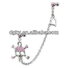 Emo Gothic Crystal Skull cartilage tragus earrings chain in ear
