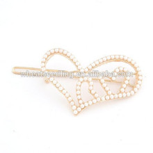 New arrival fashion delicate cute faux pearl heart in heart hairpin