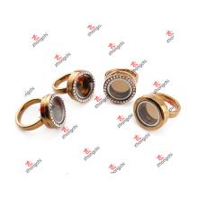 Liga de moda de vidro flutuante Locket anel para presentes do partido (lrg51024)