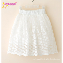 Chlidren Lace Trim Pleated Embroidered Short Skirts Of Wide Out Lined