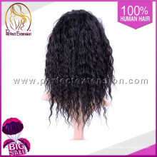 Cheap Mono Blonde Long Curly Chignon Human Hair Full Lace Front White Wigs