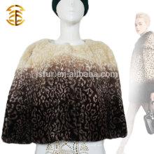 Marca de diseño de leopardo de auténtica piel de conejo abrigo corto con bowknot