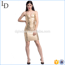 Angepasste tiefe V-Hals neue Mode Damen Kleid Gold Perlen Kleid