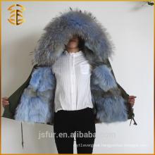 2017 New Design Women Custom Thick Jacket Fox Lined Fur Parka