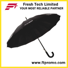 23*16k Auto Open Straight Umbrella for Pure Color