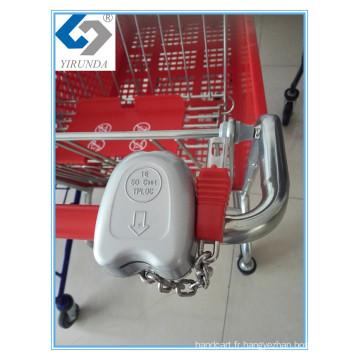 Verrouillage de chariots à achats en alliage d'aluminium de vente chaude pour supermarché