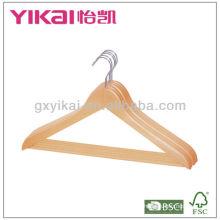 Gancho de madeira da camisa com grampos do metal 2pcs