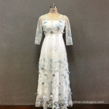 Women's polyester butterfly embroidery long dress