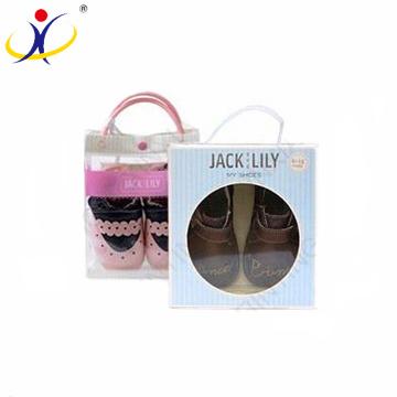 Tamanhos personalizados do logotipo e dos tamanhos! Caixas de empacotamento das sapatas de bebê do cartão com a janela clara do PVC