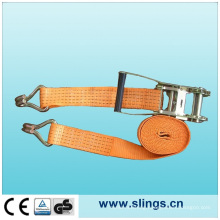 7t*75mm Ratchet Strap with Cam Buckle and Double J Hook