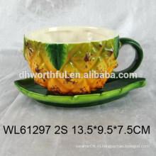 Прекрасная керамическая чашка для эспрессо и блюдце с дизайном ананаса