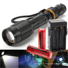 Rechargeable Tactical T6 LED Flashlight Torch+18650 Battery&Charger