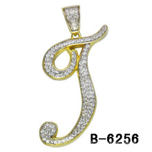925 Silver Micro Setting Two Tones Plaating Letter Charm.