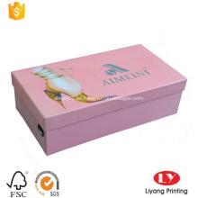 Caja de embalaje rígida de los zapatos de la cartulina para la señora