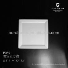 P059 2014 nuevo diseño blanco fino de porcelana de ancho llanta rasa plato cuadrado, plato plato