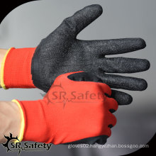 SRSAFETY 13g polyester coated latex work glove/cheap latex coated glove