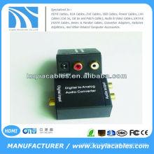Цифровой оптический Toslink или SPDIF коаксиальный к аналоговому аудио / видео конвертеру L / R RCA