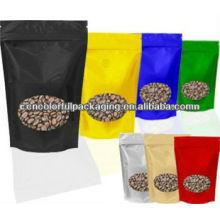 sacos matt do café da cor lisa feita sob encomenda com ziplock 100g 150 250g 500g 1kg 3kg